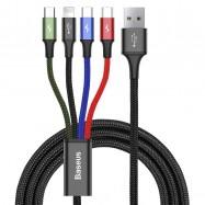 Kabel USB Baseus Fast 4w1 2xUSB-C / Lightning / Micro 3,5A 1,2m (czarny)