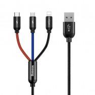 Kabel USB Baseus 3w1 USB-C / Lightning / Micro 3,5A 0,3m (czarny)